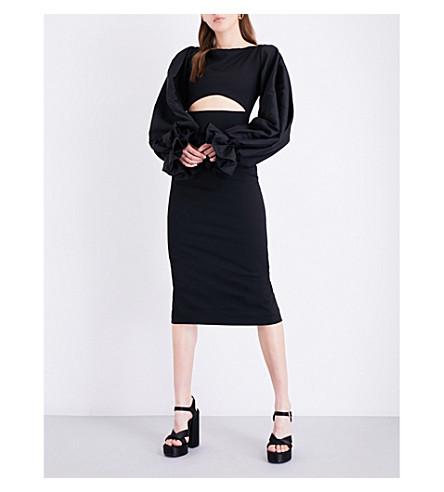 SOLACE LONDON Darcy stretch-crepe midi dress (Black