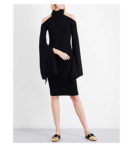 SOLACE LONDON Kai cold-shoulder knitted dress (Black