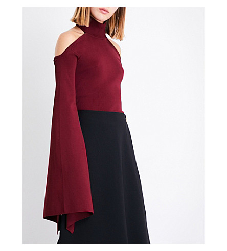 SOLACE LONDON Lydie turtleneck knitted top (Maroon