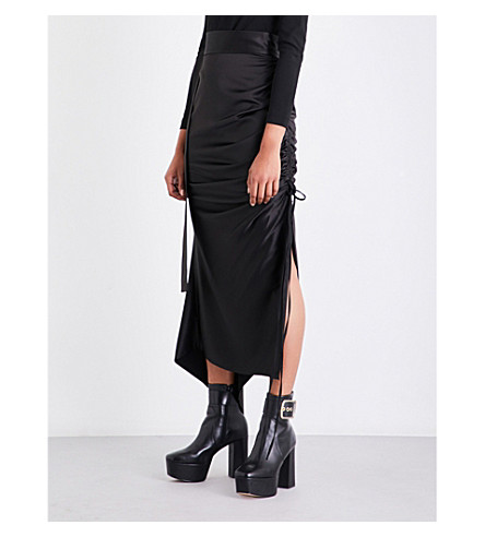 SOLACE LONDON Rosette ruched satin midi skirt (Black