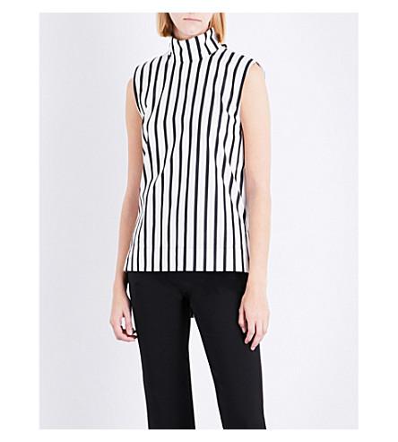 SOLACE LONDON Odila sleeveless high-neck cotton top (Bw+stripe