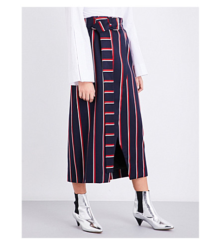 SOLACE LONDON Apolline striped wool-blend skirt (Navy+red+boating+stripe