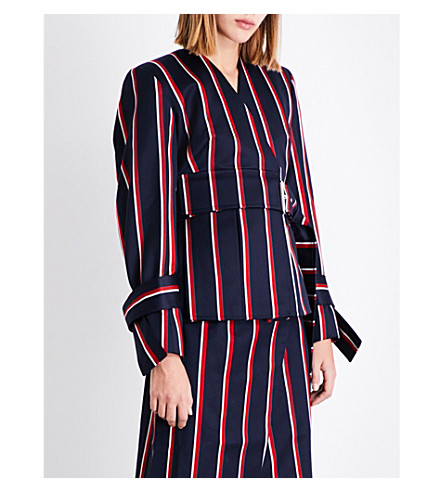 SOLACE LONDON Alizze stiped wool and cotton-blend jacket (Navy+red+boating+stripe