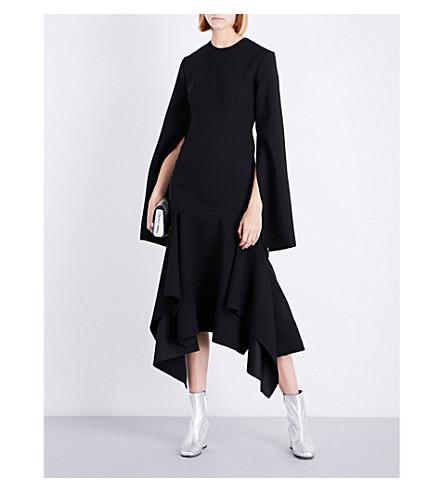 SOLACE LONDON Dominique flared asymmetric-hem crepe dress (Black