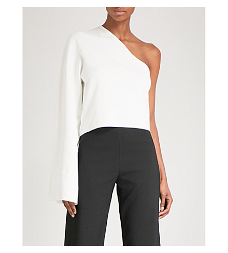 SOLACE LONDON One-shoulder knitted top (Winter+white