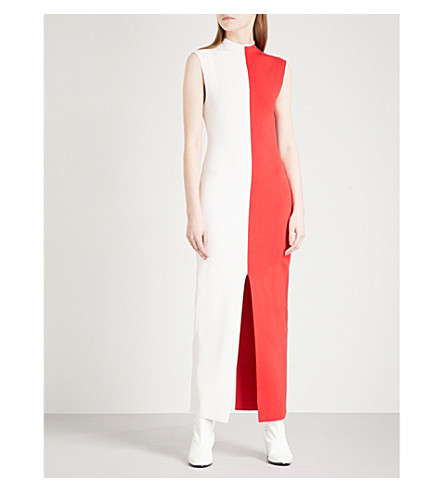 SOLACE LONDON Colourblock knitted maxi dress (Winter+white/red