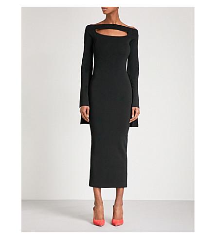 SOLACE LONDON Cutout bodycon knitted midi dress (Black