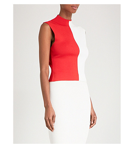 SOLACE LONDON Intarsia sleeveless knitted top (Red/winter+white