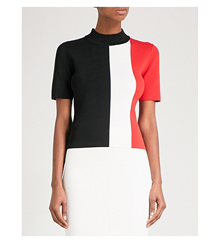 SOLACE LONDON Colourblock knitted top (Black/winter+white/red