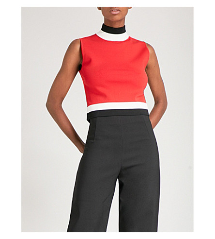 SOLACE LONDON Clari sleeveless knitted top (Red/black/winter white