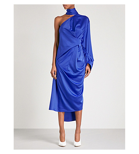 SOLACE LONDON Yoshio one-shoulder charmeuse midi dress (Blue