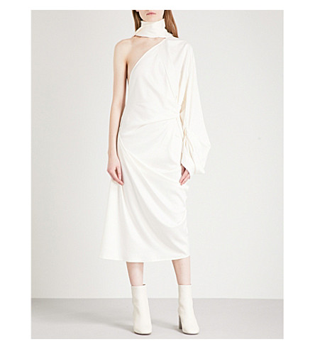 SOLACE LONDON Yoshio one-shoulder charmeuse midi dress (Cream