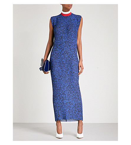 SOLACE LONDON High neck pleated maxi dress (Blue+noise