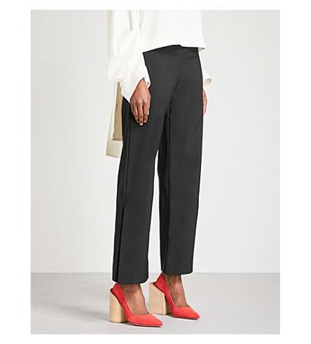 SOLACE LONDON Yosh flared super high-rise crepe trousers (Black