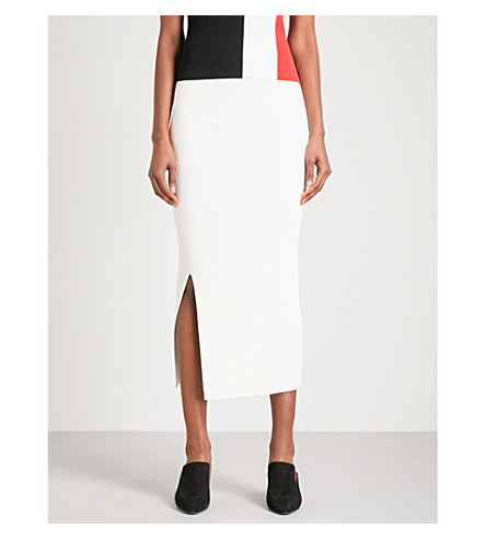 SOLACE LONDON Ribbed-knit cotton-blend skirt (Winter+white