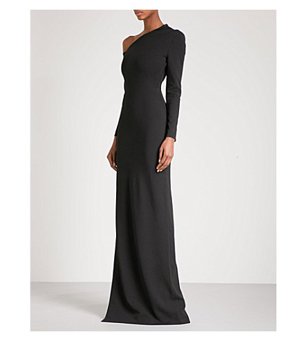 SOLACE LONDON One-shoulder crepe gown (Black