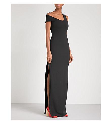 SOLACE LONDON Asymmetric crepe gown (Black