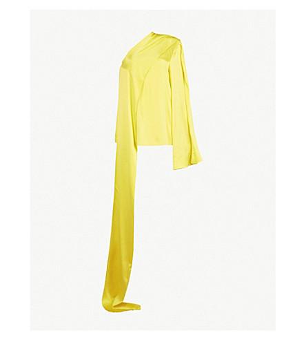 SOLACE LONDON Rosa asymmetric silk-satin top (Yellow