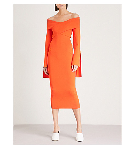SOLACE LONDON Axelle off-the-shoulder stretch-knit dress (Orange