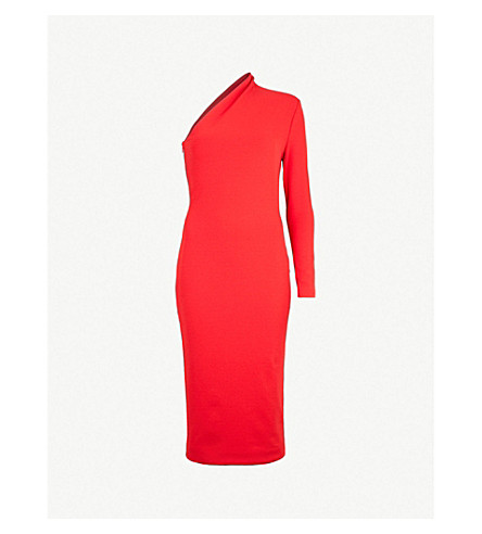 SOLACE LONDON Ambre one-shoulder stretch-crepe dress (Dark red