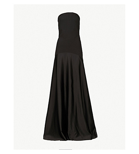 SOLACE LONDON Alessandra strapless woven and satin maxi dress (Black