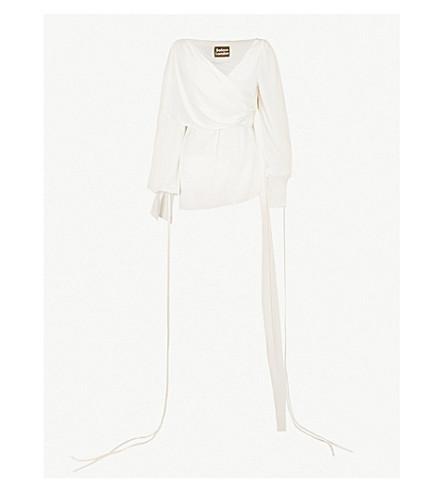 SOLACE LONDON Dorita draped silk-satin top (Cream