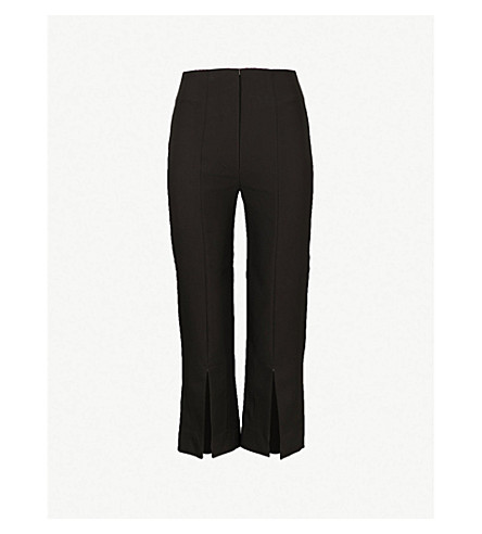 SOLACE LONDON Inez straight cropped woven trousers (Black