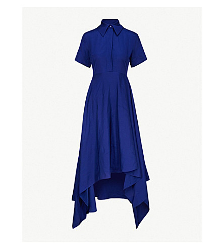 SOLACE LONDON Mia fit-and-flare woven midi dress (Blue