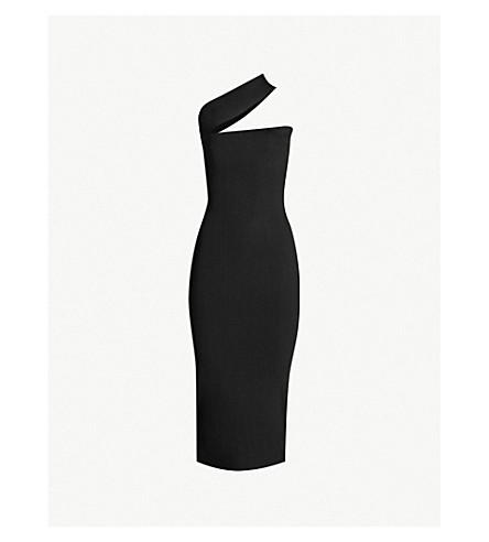 SOLACE LONDON Vida assymetric-neckline knitted jersey dress (Black