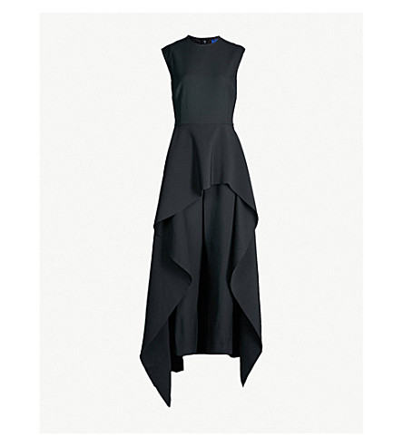 SOLACE LONDON Soraya tiered asymmetric crepe jumpsuit (Black