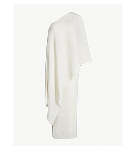SOLACE LONDON Sanna one-shoulder pleated chiffon maxi dress (Cream