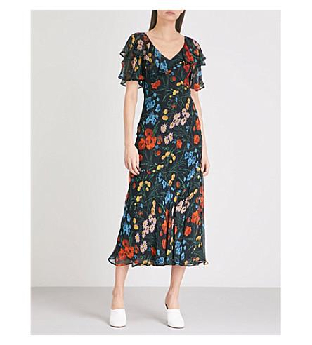 FINERY LONDON Challis printed crepe midi dress (Wild+flora+print