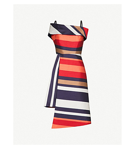 FINERY LONDON Sackville striped satin-twill dress (New+stripe