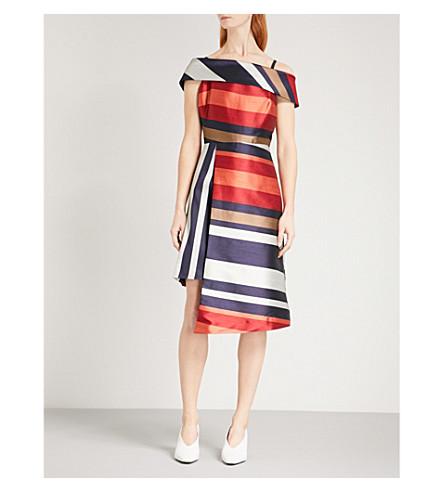 华丽服装伦敦萨条纹缎斜纹连衣裙 (新 + 条纹