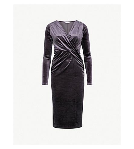 FINERY LONDON Flockton crossover velvet dress (Charcoal+greay