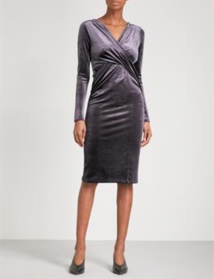 Flockton Charcoal Grey Crossover Velvet Dress Finery aSxYgEAo