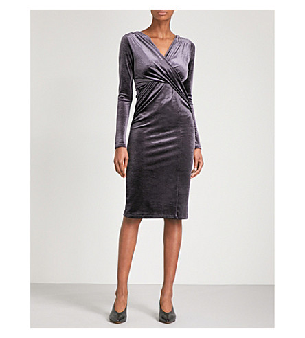 FINERY LONDON Flockton crossover velvet dress (Charcoal+greay