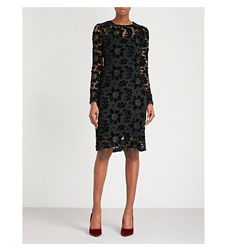 FINERY LONDON Basset lace and velvet dress (Black