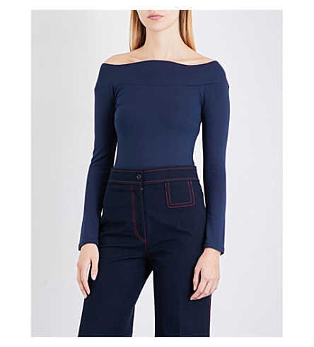 FINERY LONDON Fin scalloped off-the-shoulder jersey top (Navy