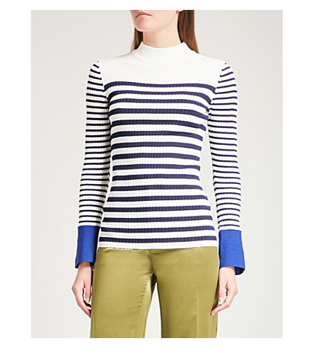 FINERY LONDON Fairbridge ribbed knitted top (Navy/ivory