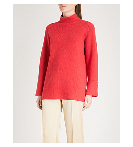FINERY LONDON Epping turtleneck knitted jumper (Cherry+red