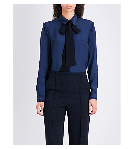 FINERY LONDON Levine pussybow crepe-de-chine blouse (Navy