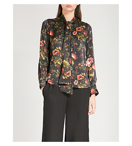FINERY LONDON Opal floral-print satin shirt (Lotus+forest