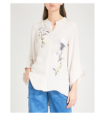 FINERY LONDON Newling embroidered crepe shirt (Multi