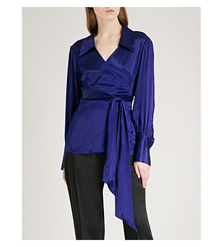 FINERY LONDON Reeve wrap-front satin top (Blue