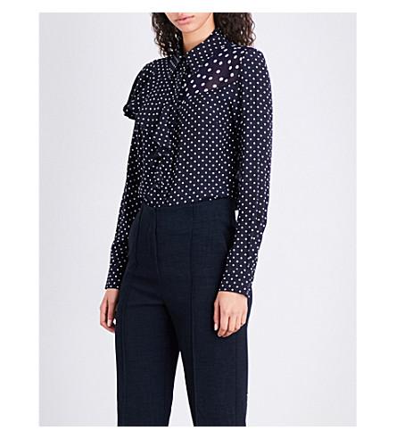 FINERY LONDON Salterton polka-dot crepe blouse (Navy