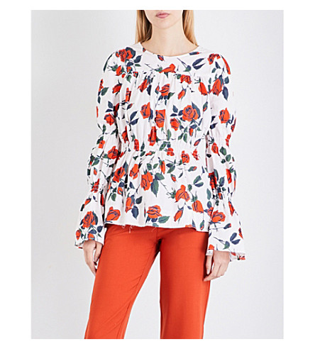 FINERY LONDON Aske floral-print stretch-cotton top (Stem+roses