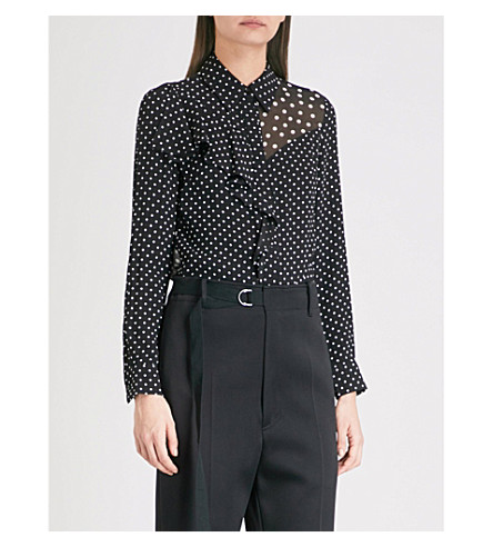 FINERY LONDON Salterton printed crepe blouse (Black/ivory