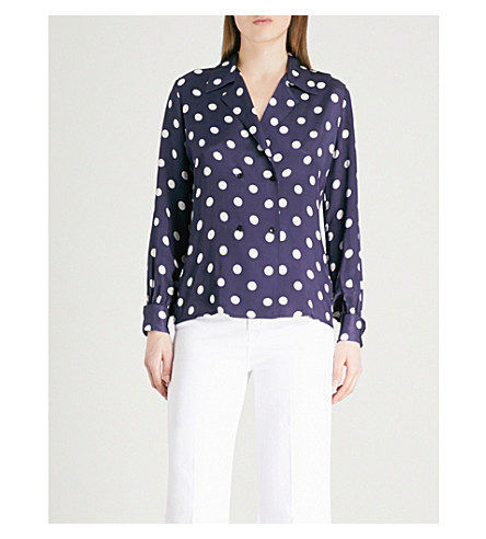 FINERY LONDON Perham double-breasted satin blouse (Midnight/ivory