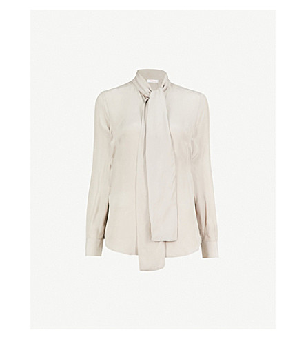 FINERY LONDON Opal neck-tie crepe blouse (Silver